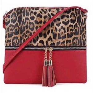Two Tone Red Leopard Print Crossbody Bag!